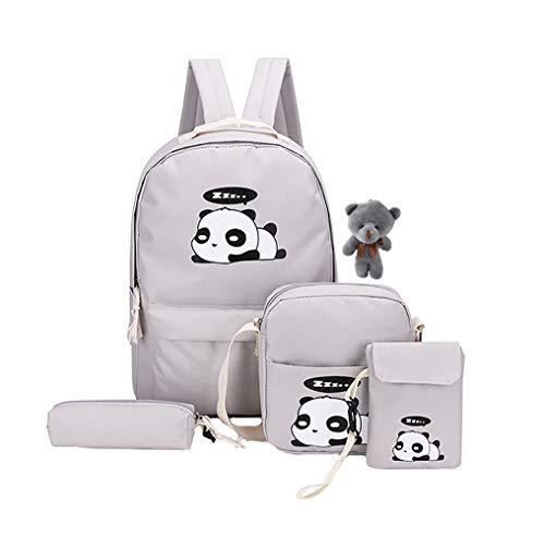Jellybro 5Pcs Cute Panda Backpack Lightweight Casual Canvas Shoulder Bag for Girls(grey)