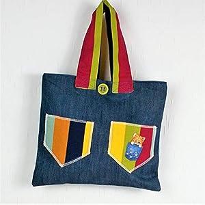 genähte Handtasche in blau bunt mit Motiv