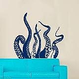 wZUN Etiqueta engomada de la Pared de la Cola del Pulpo decoración del baño del hogar calcomanía de Pared de Vinilo Papel Tapiz de Pulpo 57X69cm