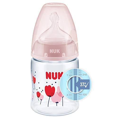 NUK First Choice+ Babyflasche | mit Temperature Control Anzeige | 150ml | 0-6 Monate | Anti-Colic | BPA Frei | rosa (Blumen)