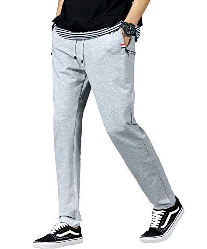 2020新品 ロングパンツ メンズ パンツ 人気 無地 調整紐 ゆったり 通気性 旅行 速乾 大きいサイズ M-4XL 秋冬 (グレー, L)