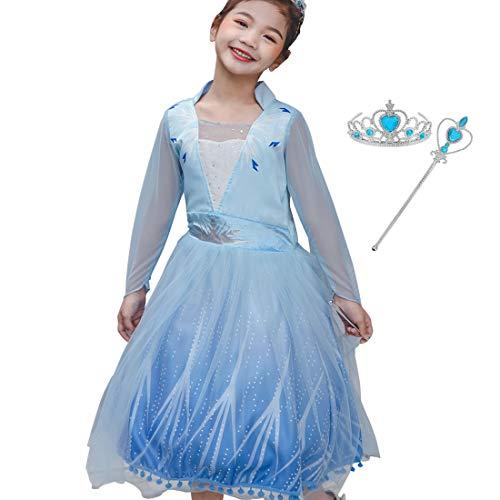 Kleine meisjes prinses Elsa 2 kostuum aankleden mesh rok sneeuw koningin lange mouwen Outfit Fancy Up jurken voor kinderen