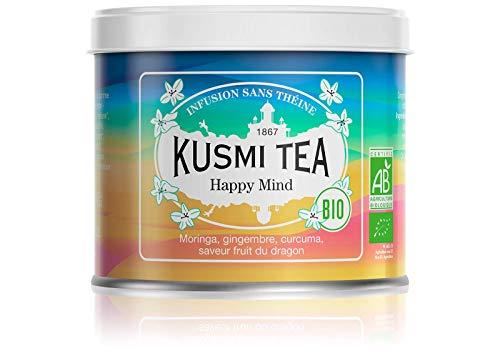 Kusmi Tea Bio Teemischung Happy Mind - Tee mit Pflanzen, Gewürzen und Apfel mit Drachenfrucht- und Zitronengeschmack - Koffeinfreier Kräutertee - 100 g Metall Teedose