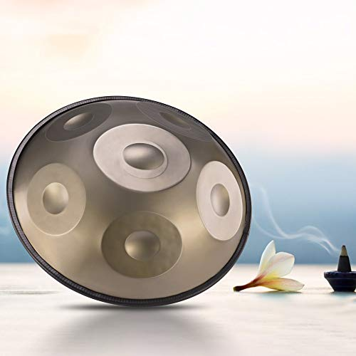 KKTECT Tambor Handpan Tambor de acero de 18 pulgadas y 6 tonos Paquete de batería fácil de llevar,...