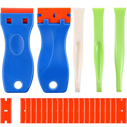 25 Pieces Scraping Tool Set, 2 Pieces Double Edged Plastic Razor Blade Scraper with 20 Pieces Plastic Razor Blades, 3 Pieces Label Gum Scraper Cleaning Tool for Stickers and Decals Window Cleaning
