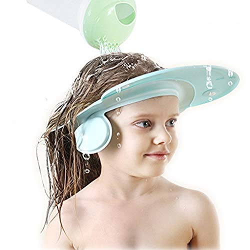 Sttech1 Waterproof Silicone Baby Kids Bathroom Safety Visor Cap Child Shower Cap Adjustable Soft Protect (Blue)