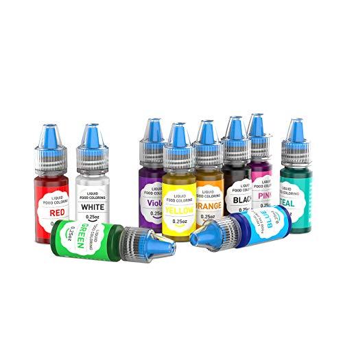 Set colorante alimentare 10 x 6ml - pigmento liquido per la decorazione di torte - per artigianato fai da te