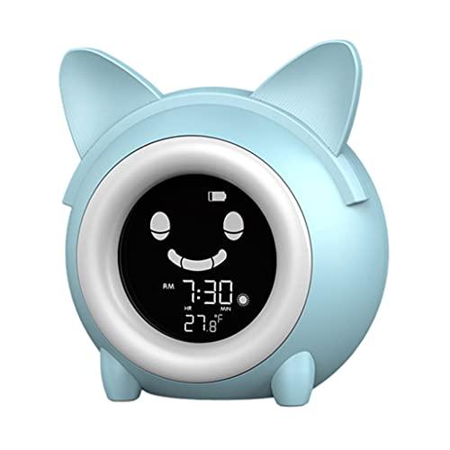 MagiDeal Despertador Digital para niños, Entrenador de sueño para niños, Reloj Despertador LED de cabecera con luz Nocturna, Temporizador de Temperatura, Blue