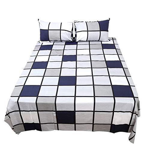 YeVhear - Juego de sábanas de 4 piezas, 100% algodón, sábana bajera, 2 fundas de almohada # 1 Twin