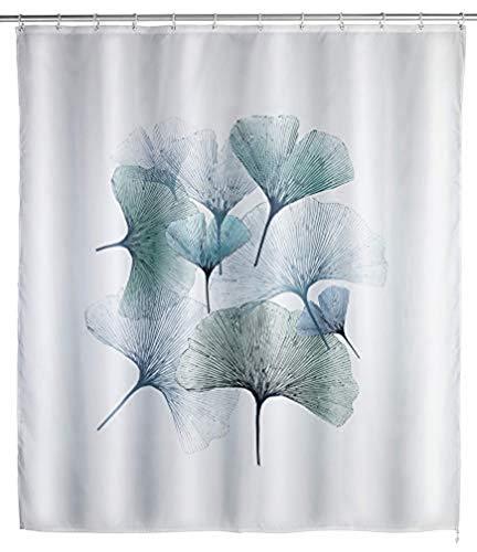WENKO Anti-Schimmel Duschvorhang Ginkgo - Anti-Bakteriell, Textil, waschbar, wasserabweisend, schimmelresistent, mit 12 Duschvorhangringen, Polyester, 180 x 200 cm, Mehrfarbig