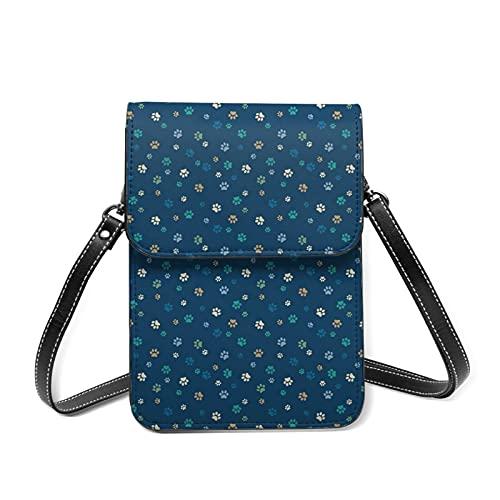 best& Paw Prints - Bolso bandolera para mujer (piel sintética, con ranuras para tarjetas), color azul, verde y dorado