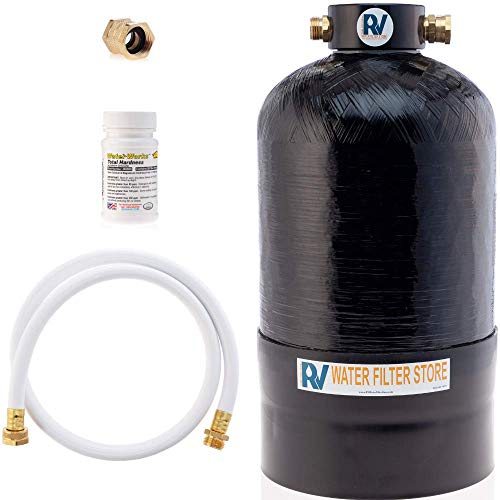Essential RV Water Softener Portable 16,000 Grain w Custom Hose, Long Lasting for RVers Vanlife, 3/4' Fittings, Softens Hard Water When Traveling or Mobile Spot Reducing Car Washing