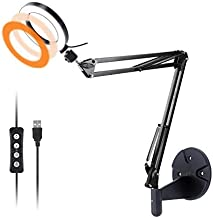 Wall Mount Light, 6'' USB Ring Light with Wall Swivel Mount for YouTube Task Craft Architect Drafting Repair Makeup- Acetaken
