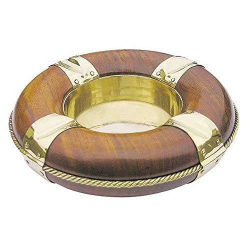 linoows Tisch-Aschenbecher, Maritimer Ascher, Rettungsring aus Messing und Edelholz