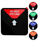 Kichwit Privacy Sign, Do Not Disturb Sign, Out of Office Sign, Please Knock Sign, in a Meeting Sign, Office Sign, Conference Sign for Offices, Squared Shaped, 4.9 Inch, Black
