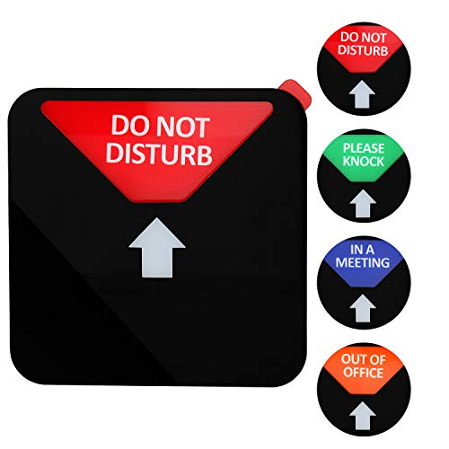 Kichwit Privacy Sign, Do Not Disturb Sign, Out of Office Sign, Please Knock Sign, In a Meeting Sign, Office Sign, Conference Sign for Offices, Squared Shaped, 4.9 Inch, Black Photo #3