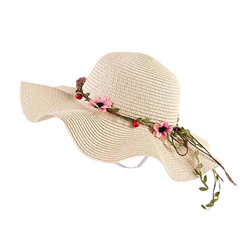Demarkt Garland Sun Hat Women's Foldable Straw Hat Protection Beach Hat Elegant Summer Hat with Large Brim for Sand Beach Holiday Outdoor, beige, 56-58 cm
