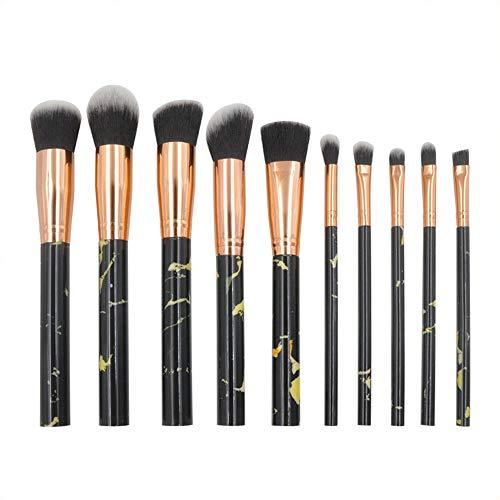 Pinceau Highliter Brush Lip Brush Pinceaux à maquillage Set Brosses pour les yeux marbrés avec Blush Foundation Eeyshadow Concealer (10pcs) Brosse douce (Color : Noir, Size : One Size)