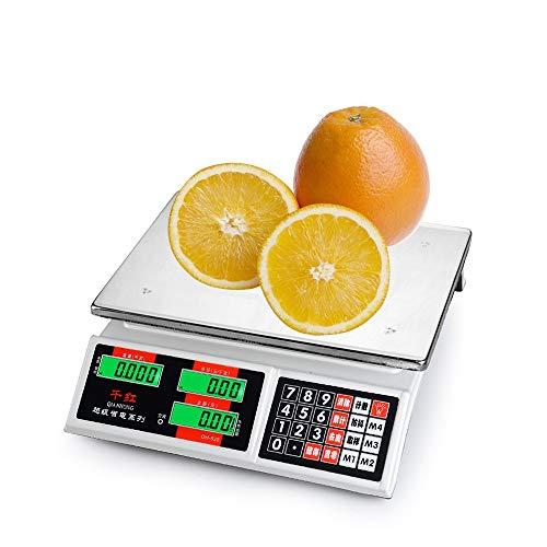 ZYHA Bascula Comercial de 30Kg Balanza Digital Bascula Industrial para la Tienda minorista Cocina Restaurante Comida Carne Fruta