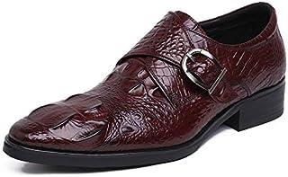 Chaussures hommes, robe de mariée Chaussures Classique Monk Hasp d'affaires Chaussures en cuir,Brown- 38/UK 5.5/US 6.5