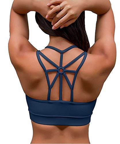 YIANNA Sujetador Deportivo Mujer con Relleno Top Yoga Running Alto Impacto Sujetadores Deportivos sin Aros Azul, YA139 Size M
