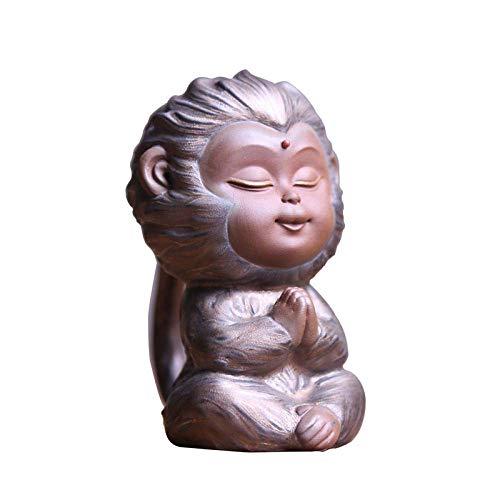 TANGIST Decoración única de estatua ornamentos de zisha té mascota mono juego de té creativo decoración boutique puede elevar kung fu té ceremonia coche cerámica