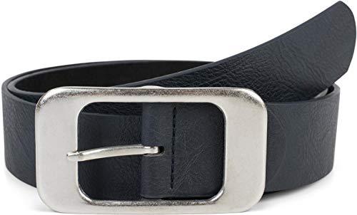 styleBREAKER Unisex Gürtel Unifarben mit großer rechteckiger Schnalle, kürzbar 03010100, Größe:95cm, Farbe:Dunkelblau
