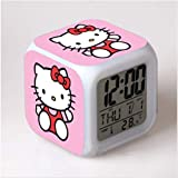 HHIAK666 Dibujos Animados Hello Kitty Reloj Despertador, Reloj Despertador Colorido, Regalo Creativo Cambio De Color Led Despertador Reloj Despertador 8Cm 14