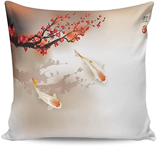 Fodere per cuscini bellissimi e magnifici fiori di ciliegio rossi carpa fortunata in primavera Federe decorative 18 * 18 pollici, doppio cuscino quadrato per arredamento divano di casa