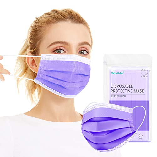 Disposable Face Masks 50pcs Individually Wrapped, Breathable 3-Ply Non-Woven Mask Dustproof Mouth Cover for Adults with Elastic Earloop, Non-medical Safety Mask for Outdoor, Office- Purple(5Pack)