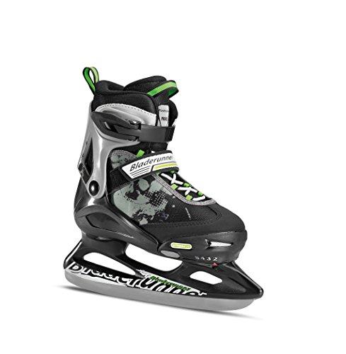 Rollerblade Bladerunner Kids Ice Skates, Black/Green, Size 5-8