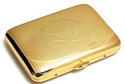 Marijuana Weed Leaf Premium Stainless Steel Engraved Gold Cigarette Case