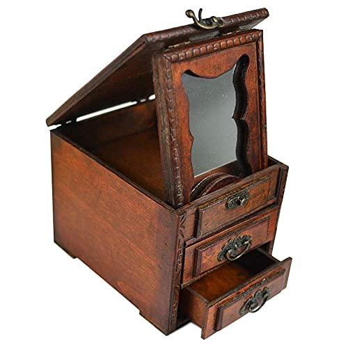 Caja de Almacenamiento de Joyas Organizador Caja de Madera para Joyas de 3 Capas con Cerradura Espejo Caja de Almacenamiento Retro para Anillo Collar Pendientes Pulsera Caja de baratijas