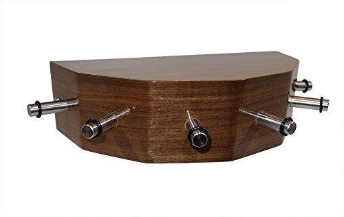 Porte-clés Console avec 6 crochets en acier inoxydable plaqué bois \