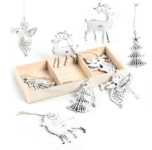 Logbuch-Verlag 9 bożonarodzeniowych zawieszek drzewo + jeleń + anioł - metalowa zawieszka biała Shabby Chic jako ozdoba na choinkę Boże Narodzenie 7 cm