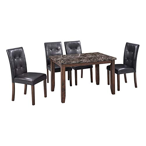 MaikcQ 5 Piece Dining Table Set, Home Furniture Rectangle Faux Marble Top Table with 4 Thicken Cushion Chairs, Perfect for Bar, Kitchen, Breakfast Nook, Living Room (Black)