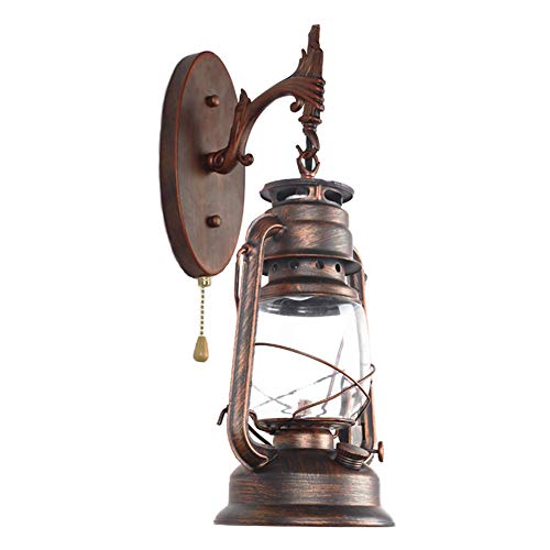 Vintage Antike Wandleuchten E27 Petroleumlampe Innen Wandlampe mit Zugschalter, Retro Industrielle Wandlichter Wandbeleuchtung für Wohnzimmer/Schlafzimmer/Korridor/Hotels/Bar/Cafe/Loft,Messing