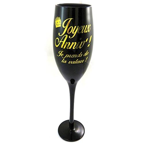 Les Trésors De Lily [N2746 - Coupe Flute à Champagne 'Joyeux Anniv !' Noir doré