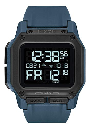 NIXON Regulus A1180 - Dark Slate - 100m Water Resistant Men's Digital Sport Watch (46mm Watch Face, 29mm-24mm Pu/Rubber/Silicone Band)