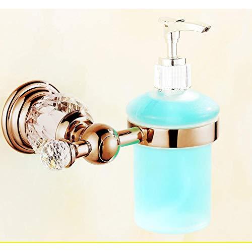 WSLWJH Zeepdispenser vergulde kristallen vloeibare zeep dispenser houder bad glas fles vloeibare parfum houder badkamer Ware Set vloeibare zeep dispensers glas