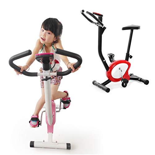 WSCQ Kids Cycling Bike, Indoor Cyclette Regolabile Resistenza Magnetica e Sella in Altezza Adatto a Bambini di 100-160 cm, Regalo di Compleanno per Ragazzi e Ragazze,Rosso