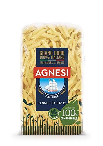 Agnesi Penne rigate | Pasta di semola di grano duro 100% italiano | Trafilatura al bronzo | Confezione compostabile da 500 grammi