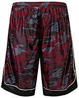 PTSports Men's 12'' Camo Basketball Shorts with Pockets Long Gym Athletic Shorts Running Drawstring Quick-Dry (Red/2, L)