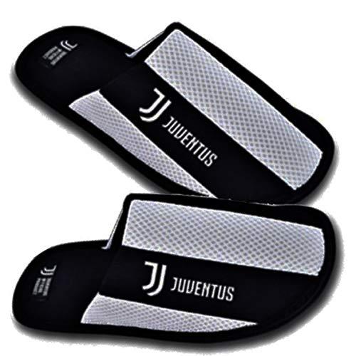 Marcello55 S.r.l. Pantofole in Cotone, Logo e Scritta Juventus Ricamata - Prodotto Ufficiale Juventus (35-36)