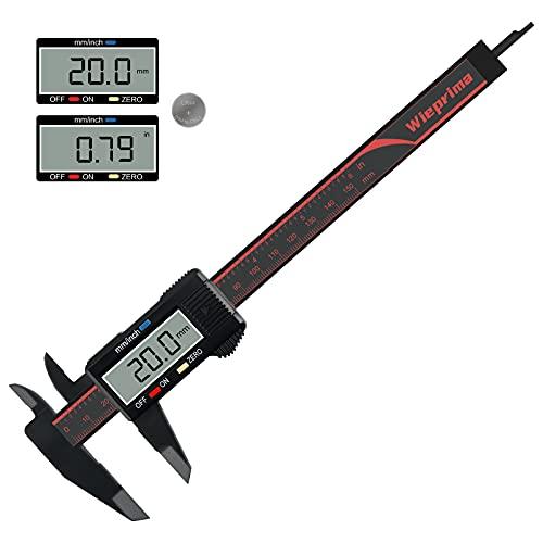 Wieprima Messschieber Digital Schieblehre,150mm Elektronische Messlehre Messwerkzeuge für präzise Messungen,mit LCD-Bildschirm,Auto-Off-Funktion mit zwei Ersatzbatterie