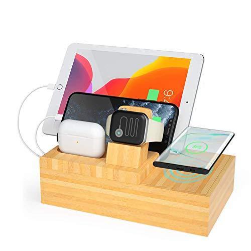 Estación de carga inalámbrica de bambú con 4 puertos USB, estaciones de carga de madera Soporte organizador de madera para múltiples dispositivos iPhone / Apple Watch / Airpods / tableta compatibles