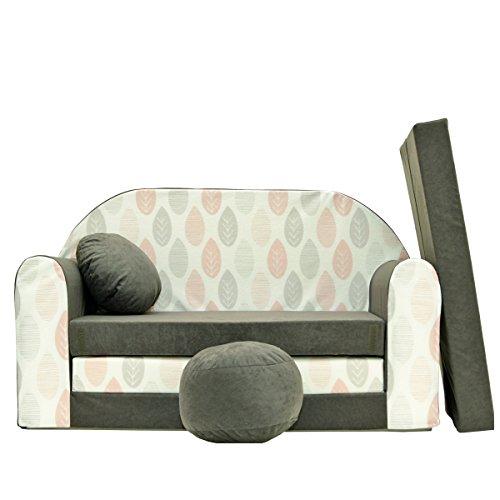 millybo Kindersofa Couch Kindercouch 3in1 Kinder Sofa Spielsofa Minisofa grau (MI-A51)
