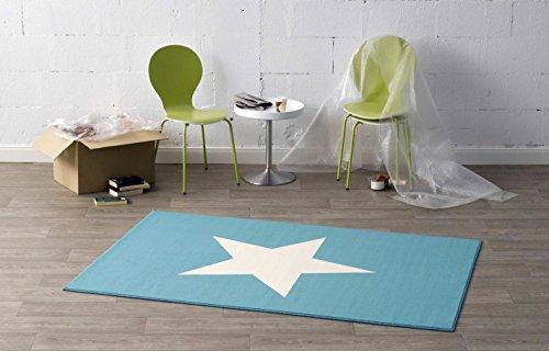 HANSE Home Design Velours Teppich Stern blau creme 140x200 cm | 102039