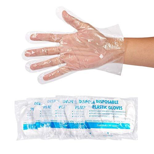 Guanti usa e getta cibo preparazione,500pezzo guanti usa e getta in plastica per alimenti, taglia unica adatta a tutti i, trasparente