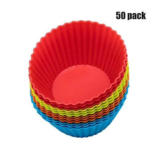 Ustensile de cuisine Manchons en silicone pour cupcakes - 48 moules à muffins vibrants dans des bocaux de stockage de moules à gâteaux antiadhésifs réutilisables hygiénique